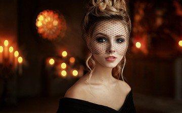 девушка, блондинка, модель, лицо, вуаль, георгий чернядьев, алиса тарасенко