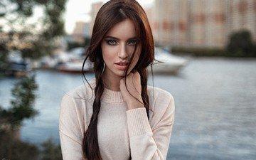девушка, портрет, город, взгляд, кофта, шатенка, боке, ретушь, георгий чернядьев, анастасия малахова