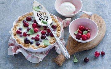 ягоды, выпечка, пирог, сметана, anna verdina, клюква