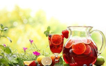 flowers, grass, nature, drink, summer, fruit, strawberry, berries, cherry, orange, lime, blueberries, glass, pitcher, lemons, compote