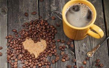зерна, кофе, сердце, чашка, кофейные зерна, сахар