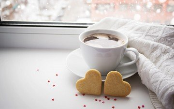 кофе, чашка, сердечки, печенье
