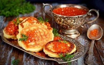dill, pancakes, caviar, red caviar