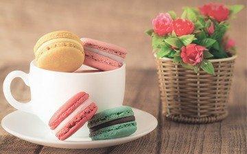 цветы, кофе, букет, печенье, десерт, макаруны