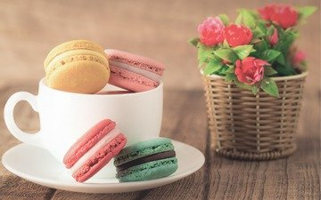 flowers, coffee, bouquet, cookies, dessert, macaroon