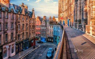 дома, улица, шотландия, эдинбург
