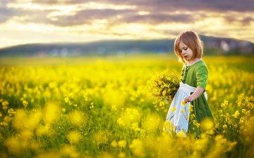 цветы, настроение, девочка, прогулка, ребенок