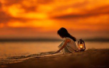 the evening, mood, girl, lantern, child, lilia alvarado