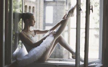 girl, model, legs, window, sill, sitting, ballerina