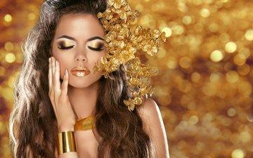 девушка, модель, волосы, лицо, макияж, золото, гламур, закрытые глаза, victoria andreas