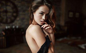 девушка, портрет, модель, длинные волосы, георгий чернядьев, голые плечи, anastasiya