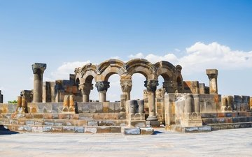 the sky, clouds, temple, ruins, attraction, armenia, hayastan, zvartnots
