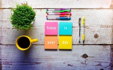 разноцветные, бумага, кофе, кружка, ручки, растение, andrea obzerova