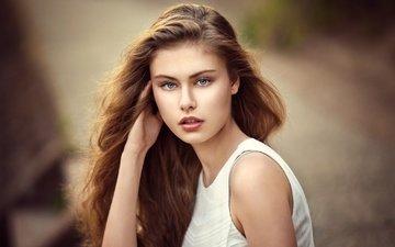 фон, поза, портрет, модель, макияж, прическа, в белом, шатенка, боке, alek, lods franck