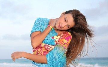 clouds, nature, sea, look, model, maria ryabushkina