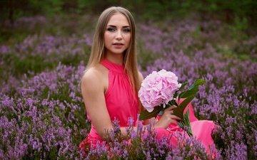 girl, mood, dress, flower, look, heather, hydrangea