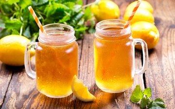 mint, ice, mugs, cocktail, tea, drink, lemons