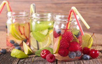 мята, напиток, малина, фрукты, лимон, ягоды, вишня, лайм, коктейль, черника