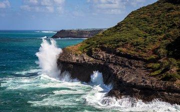 rocks, wave, landscape, sea, coast, jarred decker