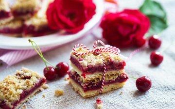 цветы, ягоды, вишня, сладкое, выпечка, десерт, пирожное