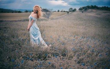 цветы, девушка, настроение, платье, поле, рыжая, луг, модель, васильки, рыжеволосая