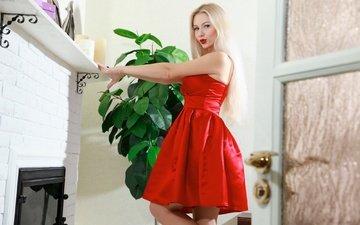 girl, blonde, look, hair, lips, fireplace, red dress, marianna merkulova