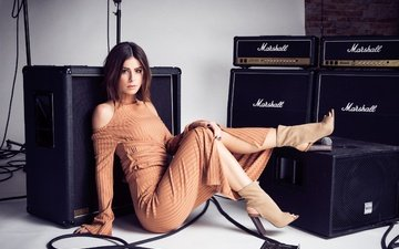 girl, dress, smile, brunette, singer, boots, sitting, lena landrut, lena meyer landrut