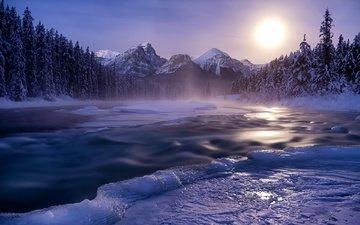 река, горы, природа, лес, закат, зима, пейзаж, лёд