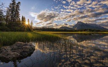 небо, облака, река, горы, природа, лес, закат, отражение, пейзаж, sherwin r calaluan