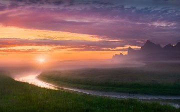 the sky, grass, river, mountains, nature, landscape, morning, fog, horizon, norway