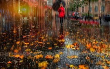 leaves, girl, the city, autumn, street, russia, rain, umbrella, saint petersburg