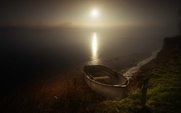light, grass, night, water, river, nature, shore, landscape, fog, the moon, pond, glare, boat, darkness