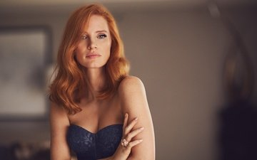 girl, look, red, hair, face, actress, photoshoot, jessica chastain, mike rosenthal, american way
