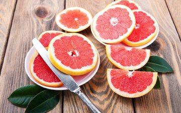 листья, фрукты, дольки, нож, цитрусы, грейпфрут