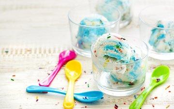 мороженое, окрас, голубая, мороженное, десерт, креманки