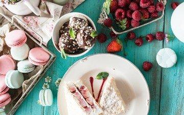 raspberry, ice cream, berries, sweet, cookies, cake, macaroon