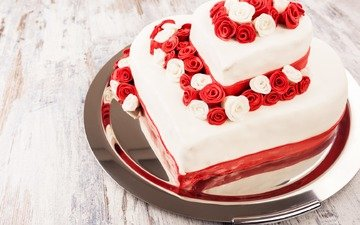торт, десерт, глазурь, розочки