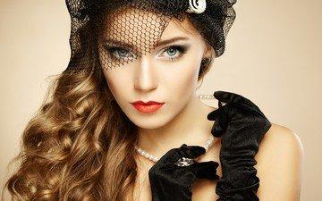 девушка, портрет, взгляд, модель, кудри, волосы, лицо, руки, макияж, украшение, жемчуг, перчатки, вуаль, длинные волосы, ву