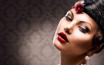 девушка, портрет, взгляд, модель, волосы, лицо, помада