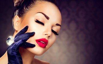 рука, красная, кольцо, волосы, лицо, помада, ресницы, перчатки, девушка макияж