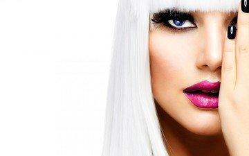 girl, blonde, look, hair, face, eyes, palm