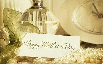 часы, поздравление, жемчуг, духи, день матери