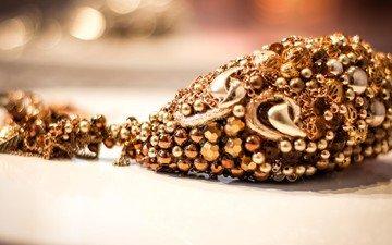 макро, золото, бижутерия, драгоценность, подвеска