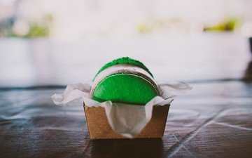 сладкое, печенье, зеленое, макарун, макаруны