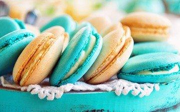 сладкое, печенье, выпечка, десерт, миндаль, макарун, макаруны, крем
