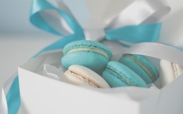 background, tape, box, sweet, cookies, bow, packaging, cake, macaroon, cream