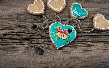 new year, heart, christmas, cookies, wood, xmas, decoration, merry christmas