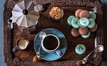 coffee, milk, sugar, cookies, still life, tray, spoon, macaroon, coffee pot