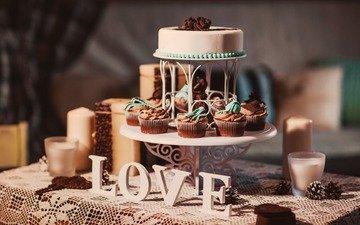 свечи, сладости, пирожное, торты