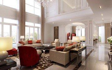 интерьер, вилла, роскошная, white living room